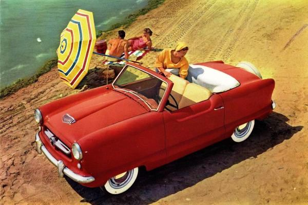 1954 Nash Metropolitan convertible red beach